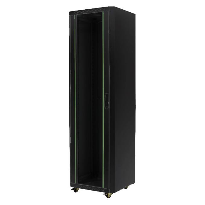 Комуникационен шкаф MIRSAN MR.GTE42U61.01 Free standing ECO, 600 x 1000 x 2020 мм / 42U, D=1000 мм, 600 кг товар, черен, свободно стоящ image