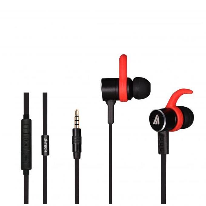 """Слушалки А4tech MK820, микрофон, тип """"тапи"""", черни/червени image"""