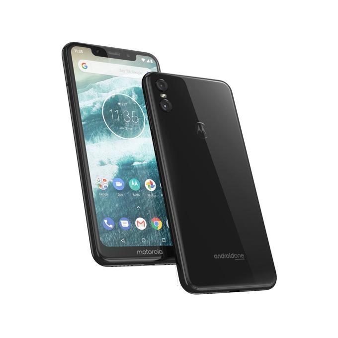 """Motorola One (черен), поддържа 2 sim карти, 5.9"""" (14.98 cm) HD дисплей, осемядрен Kryo 260 1.8 GHz, 4GB RAM, 64GB Flash памет (+ microSD слот), 13.0 MPix + 2 MPix и 8 MPix задна, Android, 205g image"""