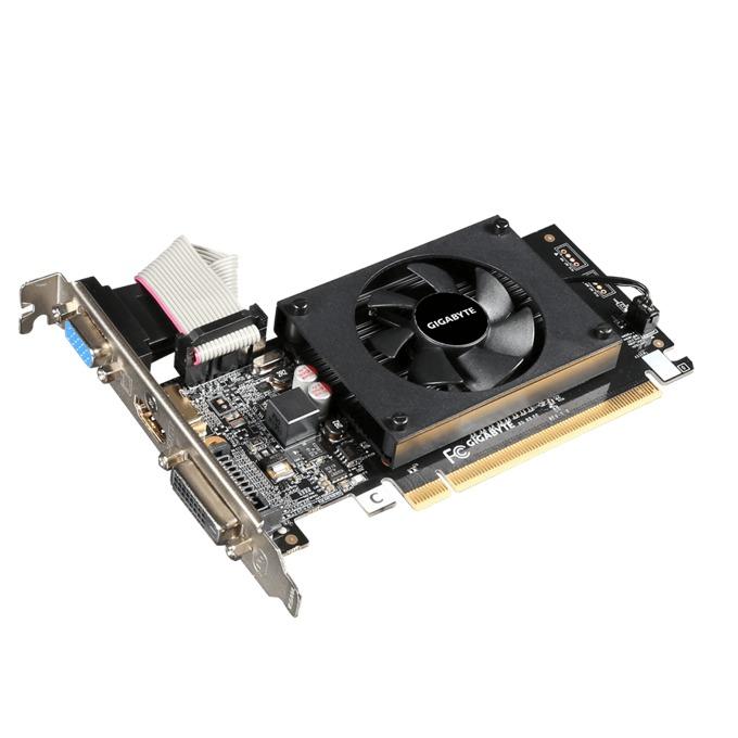 Видео карта GF GT 710, 2GB, Gigabyte GV-N710D3-2GL, PCI-E 2.0, DDR3, 64 bit, HDMI, DVI image