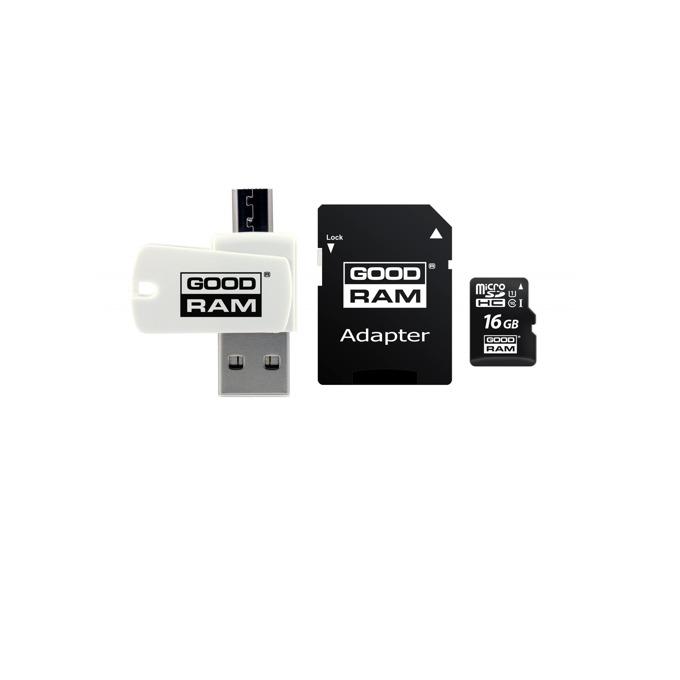 16GB microSDHC с адаптер и четец, Goodram M1A4-0160R11, Class 10 UHS-I, скорост на четене 60 MB/Sec, скорост на запис 10 MB/Sec image