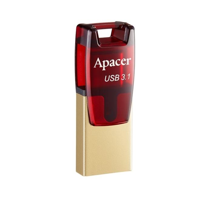 Памет 64GB USB Flash Drive, Apacer AH180, USB 3.1/Type-C, OTG, червена image