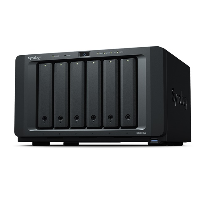 "Мрежови диск (NAS) Synology DiskStation DS3018xs, двуядрен Intel Pentium D1508 2.2/2.6GHz, без твърд диск(6x 2.5/3.5"" HDD/SSD), 8GB DDR4, 4x LAN10/100/1000, 3x USB 3.0, 2x expansion порта image"