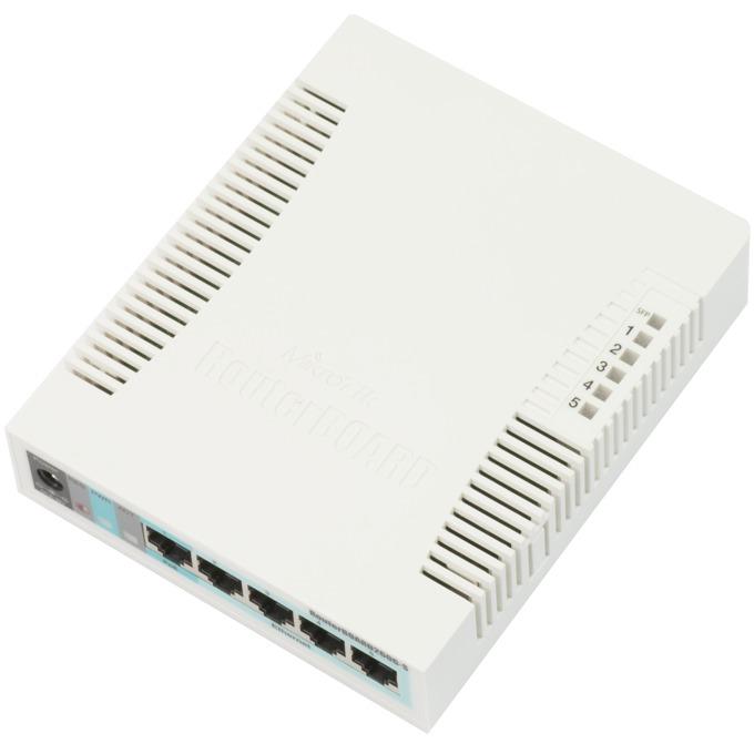 Суич MikroTik RB260GS, 5 Port 1000Mbps, 1x SFP, PoE image
