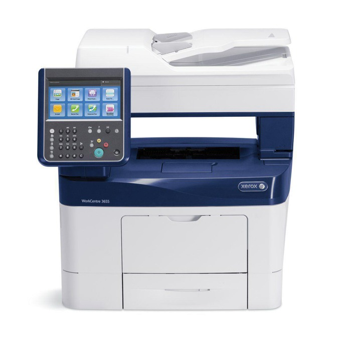 Мултифункционално лазерно устройство Xerox WorkCentre 3655i, монохромен принтер/копир/скенер/факс, 1200x1200dpi, 45 стр/мин, Lan1000, USB 2.0, A4 image