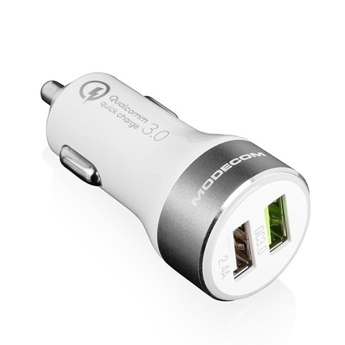 Зарядно устройство за кола Modecom MC-QCU2-07, от автомобилна запалка към 2x USB, 9/12V, бяло, поддържа QC3.0 fast charging technology image