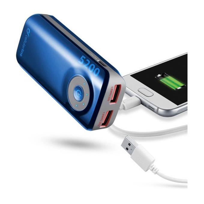 Външна батерия/power bank/ Cellular Line, 5200mAh, синя, 2x USB, On/Off image