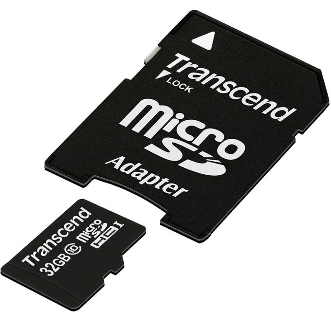 32GB microSDHC, Transcend Premium (TS32GUSDHC10), с SD адаптер, Class 10 200X, скорост на четене 30MB/s, скорост на запис 30MB/s image