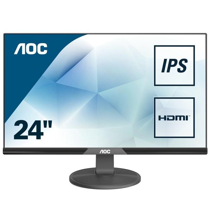 """Монитор AOC I240SXH 23.8""""(60.45 cm) IPS 1920x1080 16:9, 5ms, 20M:1, 250cd/m2, VGA, HDMI borderless, черен image"""