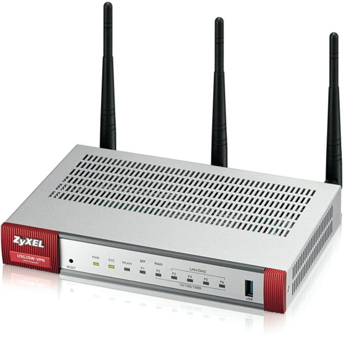 Защитна стена ZyXEL USG20W-VPN, 802.11ac/n Wireless (3x3/80MHz), 10x VPN (IPSec/L2TP), up to 15 SSL (5 included), 1x WAN, 1x SFP, 4x LAN/DMZ, 1x USB port image