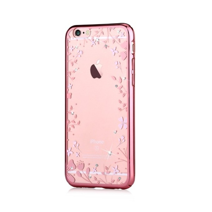Калъф за Apple iPhone 6/6S, страничен протектор с гръб, поликарбонат, Devia Spring Case, с кристали Сваровски, розов image