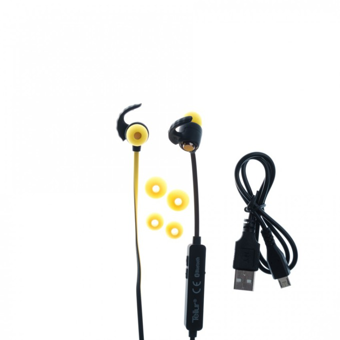 Слушалки Tellur In-Ear Sport, Speed series, Bluetooth, жълти  image