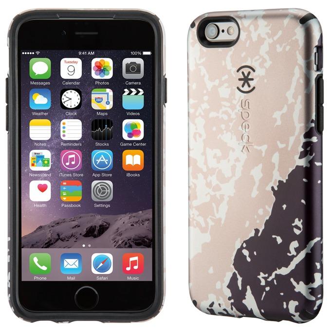 Страничен протектор с гръб Speck за iPhone 6S, черен с щампа image