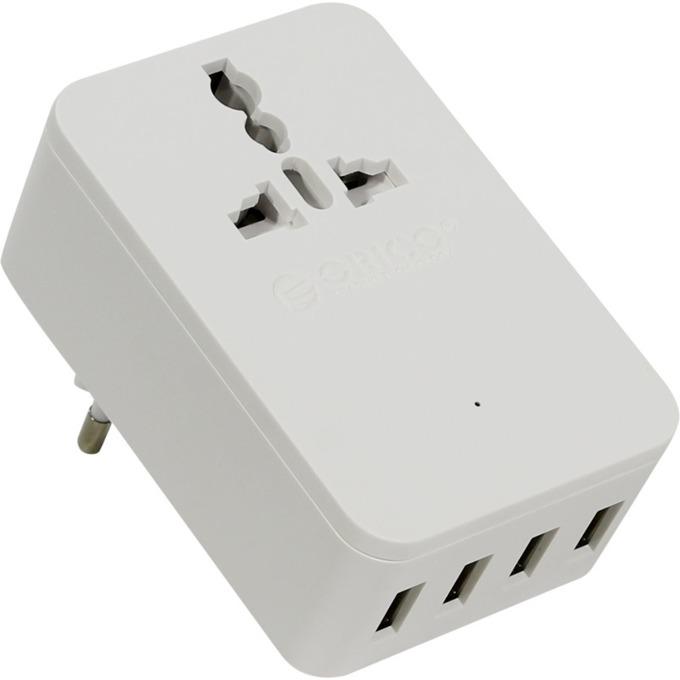 Зарядно устройство ORICO S4U-TEU, от контакт към 4x USB A(ж), бяло image