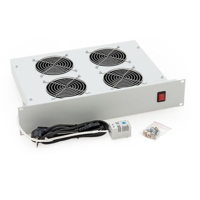 """Вентилаторен блок Triton RA1-CH-A02 за свободностоящи шкафове, 19"""", 2U, 4 вентилатора, 60W, термостат, бял image"""