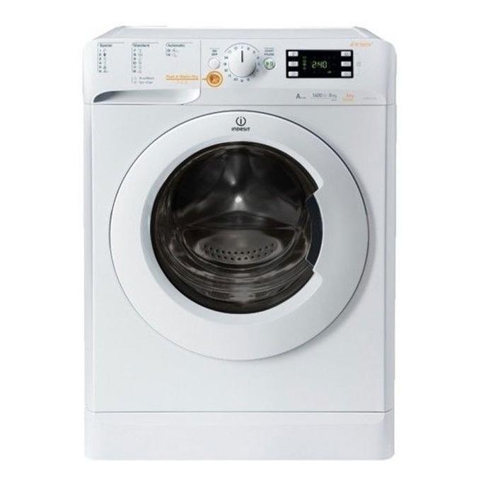 Пералня със сушилня Indesit XWDE 861480X WW GG EU, клас А, капацитет пералня 8кг./6кг. сушилня, 1400 обр./мин, дисплей, 16 автоматични програми, бяла  image