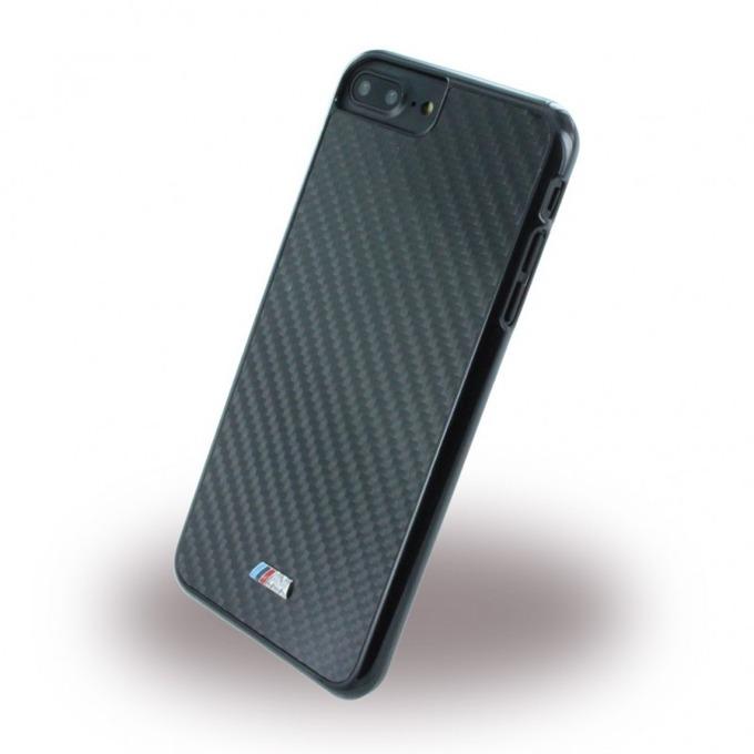 Калъф iPhone 7,8 Plus, страничен протектор с гръб, карбоново-алуминиев, BMW M Carbon Fiber Hard Case, черен image