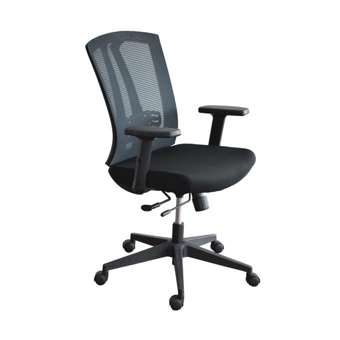 Работен стол RFG Prime W, дамаска и меш, черна седалка, черна облегалка image
