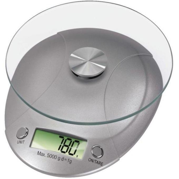 Кухненски кантар Xavax Milla 106993, дигитален, до 5кг, авт. изкл. след 1мин, едини за измерване грам, унция, мл. и LB, сребрист image