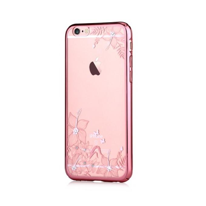 Калъф за Apple iPhone 6/6S, страничен протектор с гръб, поликарбонат, Devia Engaging Case, с кристали Сваровски, розов image