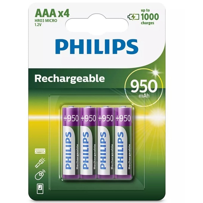 Philips Rechargeable AAA 950 mAh R03B4A95/10 product