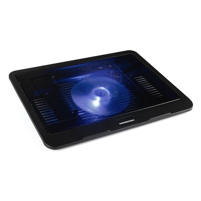 Охлаждаща поставка за лаптоп Modecom Silent Fan MC-CF13, 1 вентилатор с подсветка, черна image