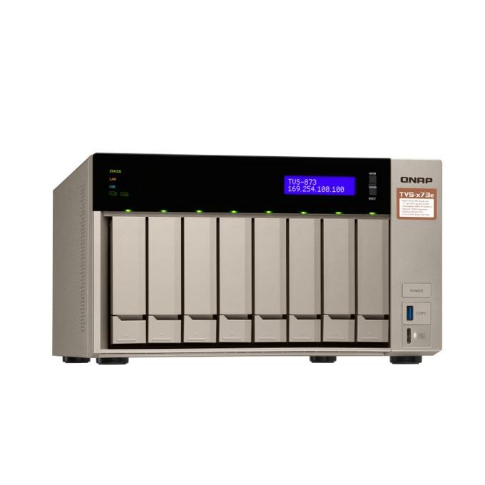 Qnap TVS-873e-4G, четириядрен AMD RX-421BD 2.1/3.4 GHz, 512MB DOM, 8x SATA 6 Gbps, 2x M.2 2260/2280 SATA 6Gb/s SSDs, 4x 1000 LAN, 2x PCIe 3.0 x4, 2x HDMI, 2x 3.5 mm jacks image