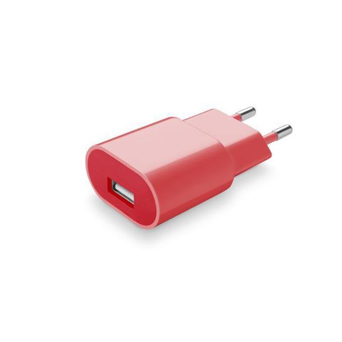Зарядно у-во /универсално/ Cellular Line, 1A, USB A(ж), за мобилни устройства, червено image