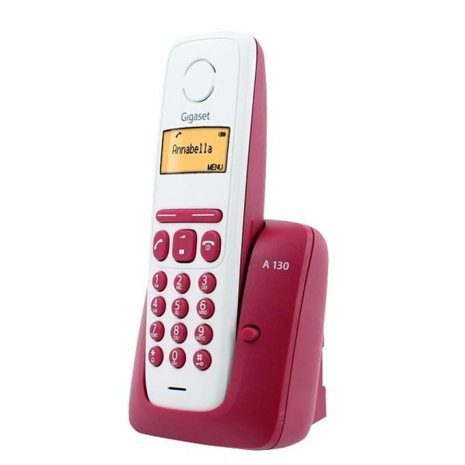 Безжичен телефон Gigaset A130,течнокристален черно-бял дисплей, бордо image