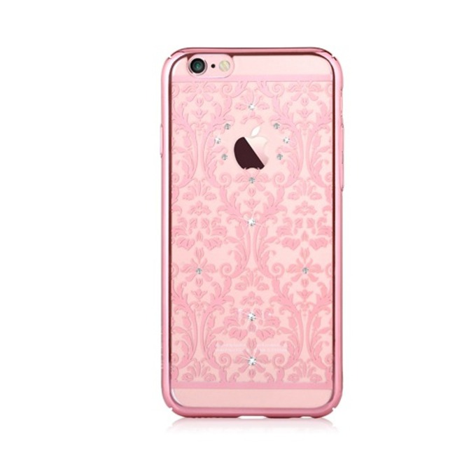 "Калъф за Apple iPhone 6/6S, страничен протектор с гръб, поликарбонат, Devia Baroque Case, с кристали ""Сваровски"", розов image"