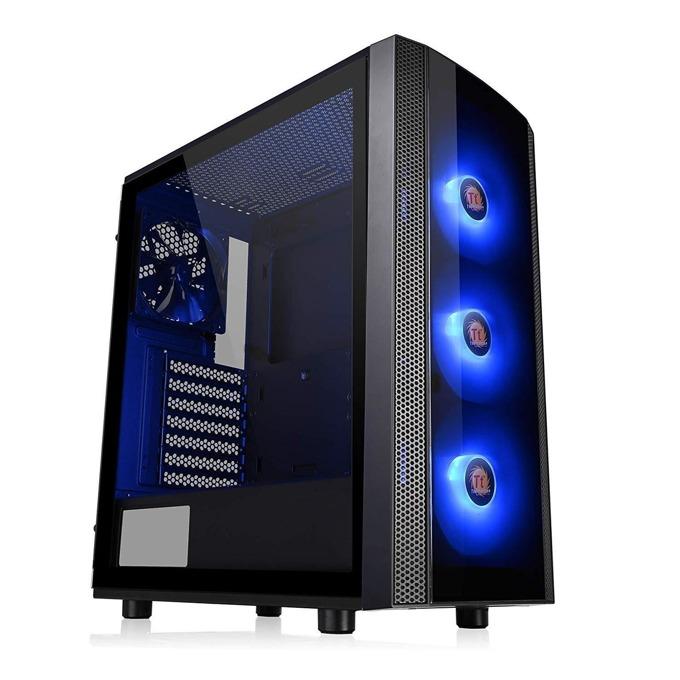 Кутия Thermaltake Versa J25, ATX/mATX/miniITX, 2x USB 3.0, страничен прозорец от закалено стъкло, черна, без захранване, RGB програмируема подсветка image