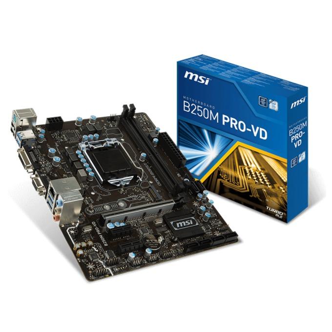 Дънна платка MSI B250M PRO-VD, B250, LGA1151, DDR4, PCI-E (DVI&VGA), 6x SATA 6Gb/s, 2x USB 3.1, Micro-ATX image