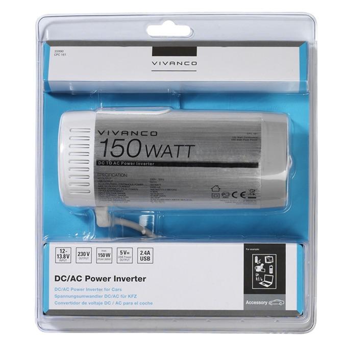 Vivanco Инвертор за автомобил с USB 12V/230V, 150W