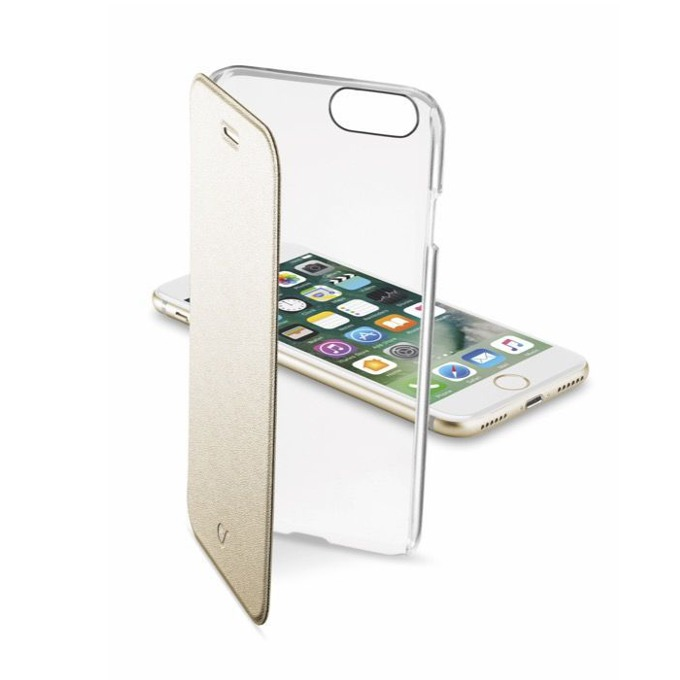 Калъф за Apple iPhone 7, отвараяем, пластмаса, Cellular Line Wallet, с прозрачен капак, златист image