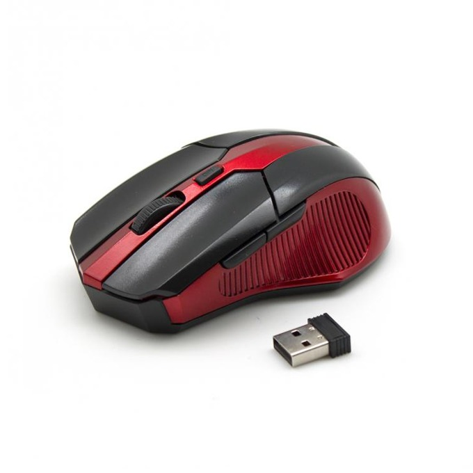 Мишка SBOX M-9017BR, оптична (2400 dpi), безжична, USB 2.0, черно/червена, 10м обхват image