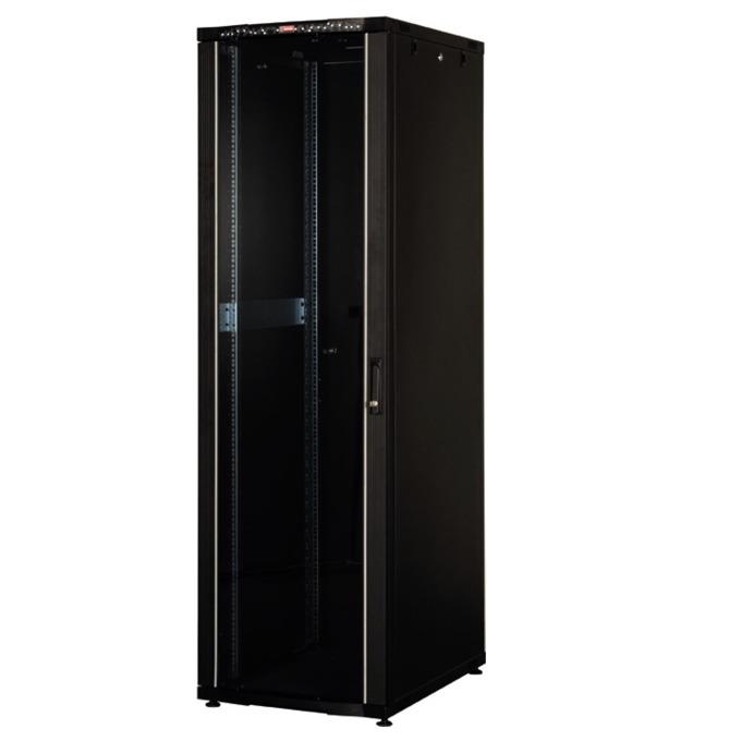 """Комуникационен шкаф Lande LN-CK42U6080-BL-121, 19"""", 42U, 600 x 800 мм, стъклена врата, LCD термометър, черен image"""