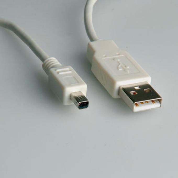 Кабел Roline 11.99.8618, USB A(м) към Mitsumi mini(м), 1.8m, бял image