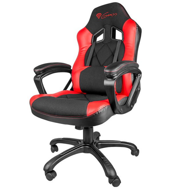 Геймърски стол Natec Genesis SX33, кожен, клас 3 газов амортиьор, черен/червен image