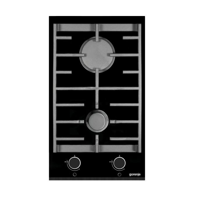 Газов плот GORENJE GC 341 UC, 2 газови котлона, Електрическо запалване на газовите котлони, Чугунена решетка, Фасетиран ръб, черен image