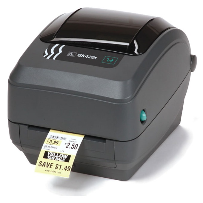 Етикетен баркод принтер Zebra GK420T (GK42-102520-000), 203 dpi, 33.8 mm до 109.2 mm (широчина на лента), 33.8 mm до 109.2 mm (широчина на печат), USB & RS-232 (direct thermal/thermal transfer) image