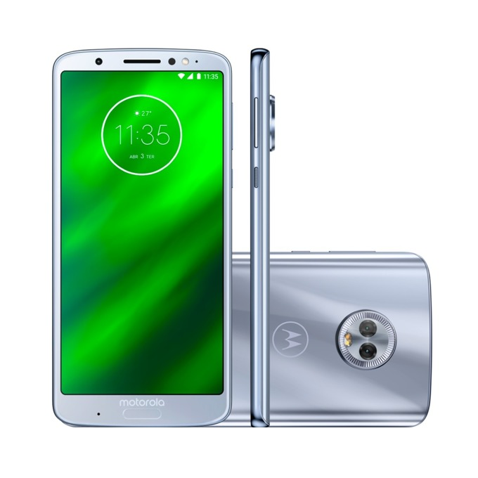 "Motorola Moto G6 Plus (сребрист), поддържа 2 sim карти, 5.9"" (14.98 cm) Full HD+ IPS дисплей, осемядрен Qualcomm Snapdragon 630 2,2 GHz, 4GB RAM, 64GB Flash памет (+ microSD слот), 12.0 MPix + 5 MPix и 8 MPix, Android, 167g image"