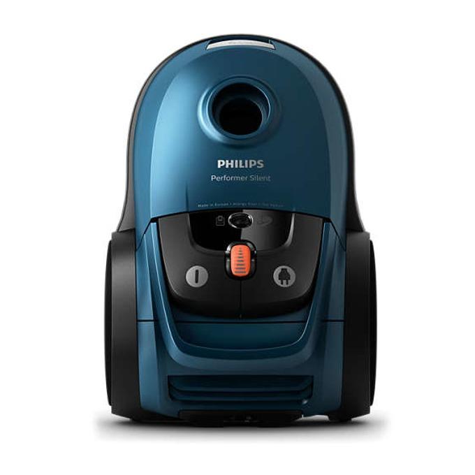 Прахосмукачка Philips Performer Silent FC8783/09, с торба, 650 W, 4 л. капацитет на торбата, енергиен клас A+, син image