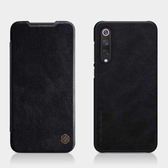 Калъф за Xiaomi Mi 9 SE, естествена кожа, Nillkin Qin, тип портфейл, черен image