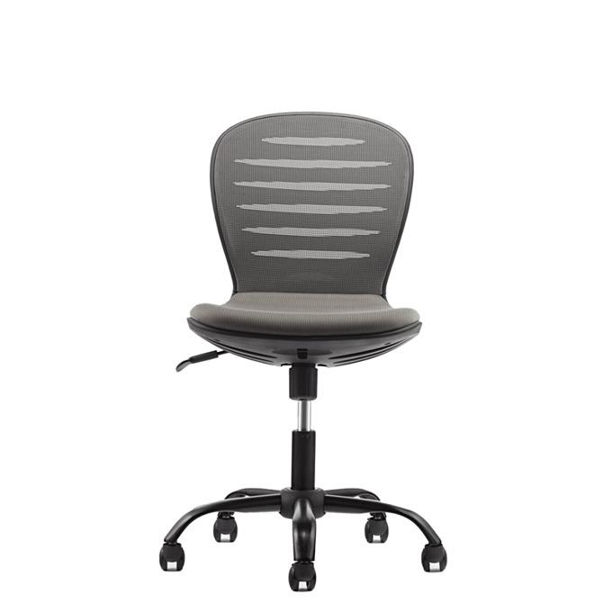 Детски стол RFG Flexy Black, дамаска и меш, сива седалка, сива облегалка image