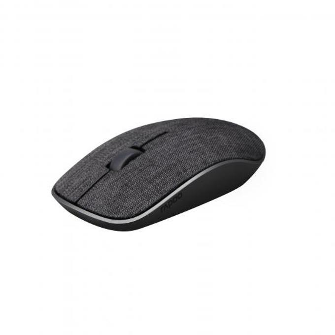 Мишка Rapoo 3510 Plus, оптична (1000dpi), безжична, USB, черна, покритие от плат image