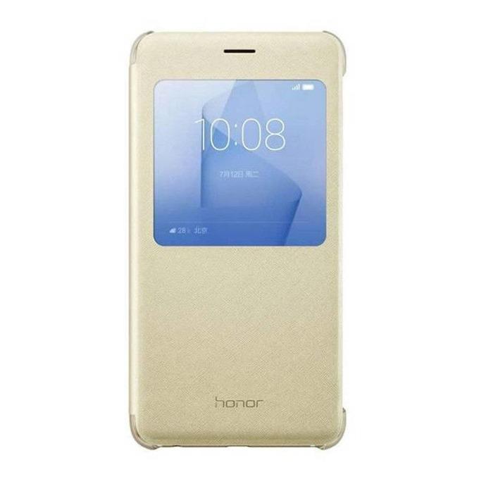 Калъф за Huawei Honor 8, Flip Cover, еко кожа, Huawei View Flip Cover, златист image