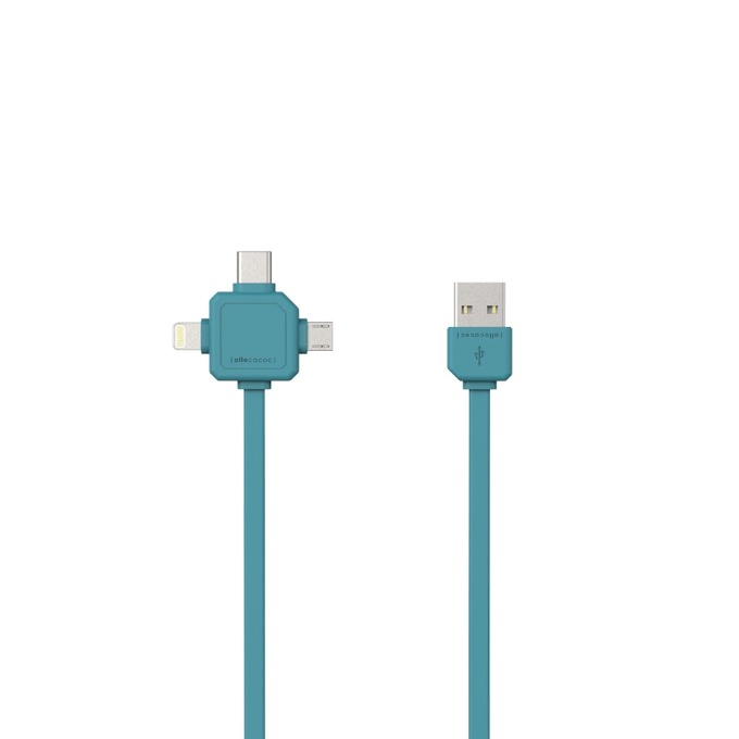 Кабел Allocacoc USB cable 9003BL, от USB(м) към USB type-C(м)/Lightning(м)/Micro USB(м), 1.5m, син image