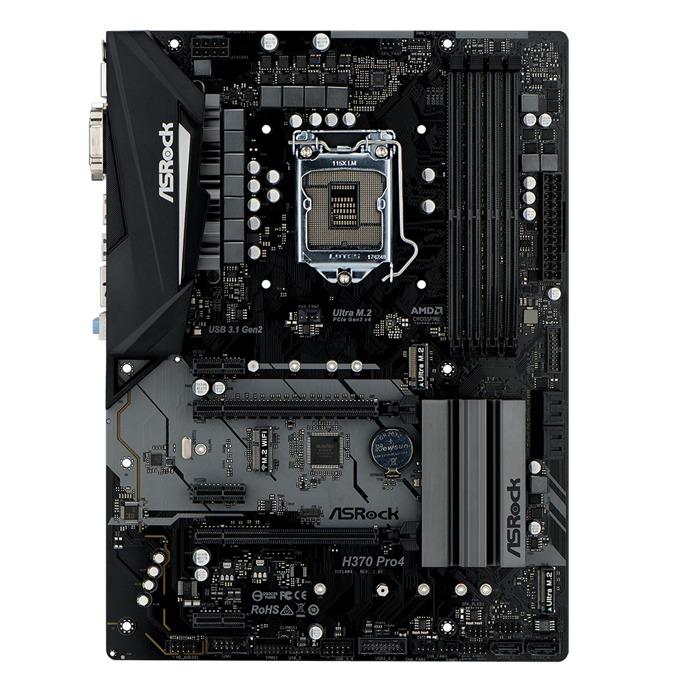Дънна платка ASRock H370 Pro4, H370, LGA1151, DDR4, PCI-E (HDMI&DVI)(CFX), 6x SATA 6Gb/s, 2x M.2 Socket, 1x USB 3.1 (Type-C), ATX image
