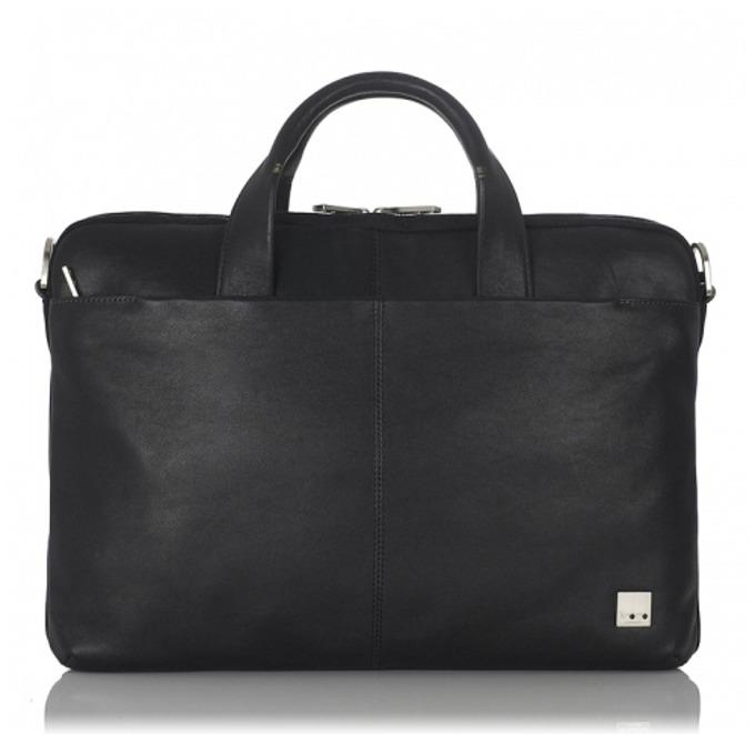 """Чанта за лаптоп Knomo Henderson Slim Brief 15, до 15"""" (38.1 cm), естествена кожа, черна image"""