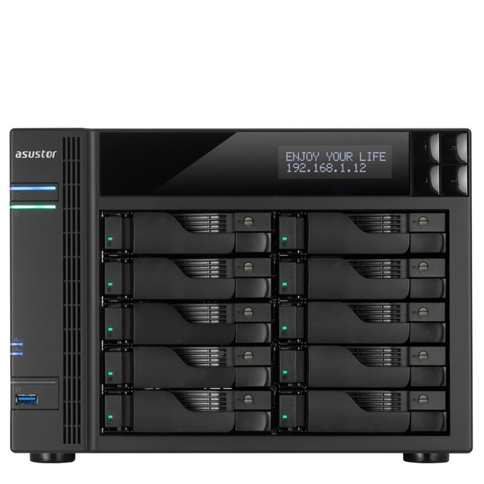 """Asustor AS6210T, четириядрен Intel Celeron 1.6/2.24GHz, без твърд диск(10x SATA3/2.5""""/3.5""""/SSD), 2GB DDR3L RAM, 4x Lan1000, 1x HDMI, 3x USB 3.0, 2x USB 2.0, 2x eSATA image"""